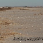 Breezy Point ocean side dunes flattened by Hurricane Sandy 11-14-12 © Ron Bourque